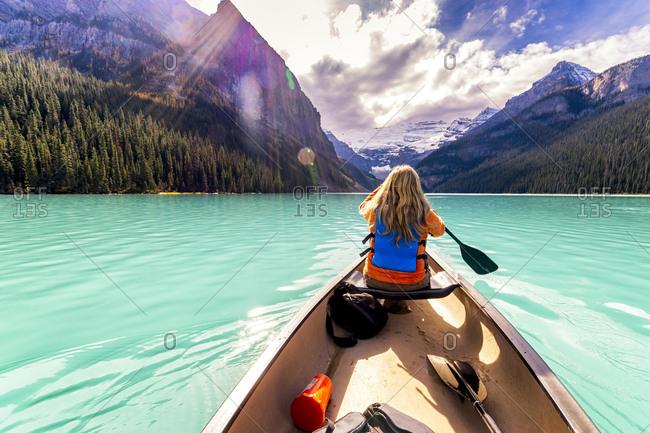 Canada- Alberta- Banff National Park- Canoeing on Lake Louise