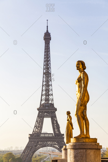 France- Paris- Eiffel Tower with statues at Place du Trocadero