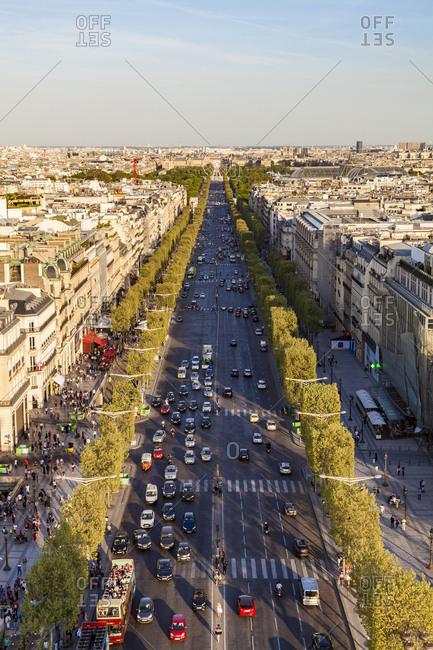 France- Paris- cityscape with Avenue des Champs-Elysees