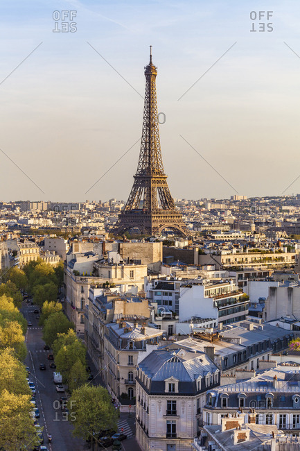 France- Paris- cityscape with Eiffel Tower and residential buildings