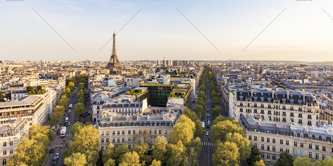 France- Paris- cityscape with Place Charles-de-Gaulle- Eiffel Tower and residential buildings
