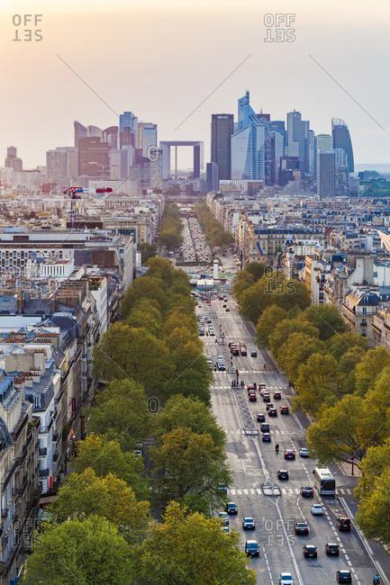 April 21, 2018: France- Paris- cityscape with Avenue de la Grande Armee and La Defense