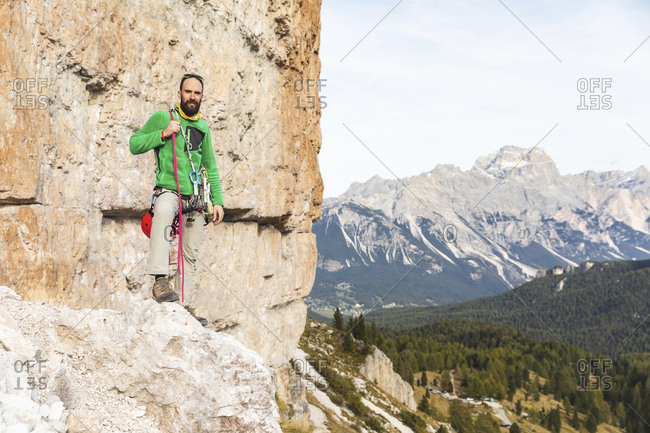 Italy- Cortina d'Ampezzo- portrait of a climber in the Dolomites mountains