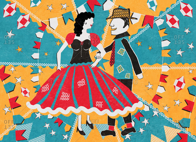 Illustration of a man and woman dancing at Festa Junina in Sao Paulo