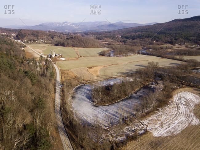 Otter Creek in winter landscape in Proctor, Vermont.