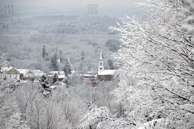 Snow-filled winter landscape view of Brandon, Vermont.