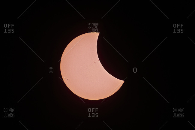 The Solar Eclipse shows off sunspots and granulation on the surface of the Sun (photosphere).