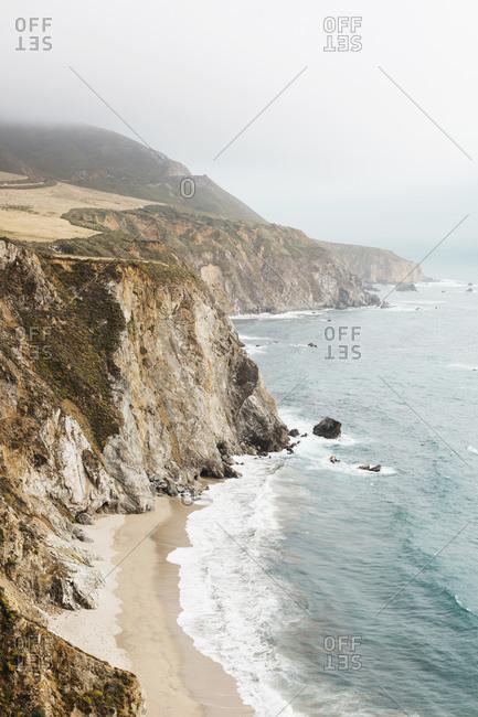 Cliffs by Pacific Ocean near Big Sur, California