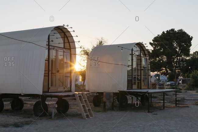 Huts in rural California