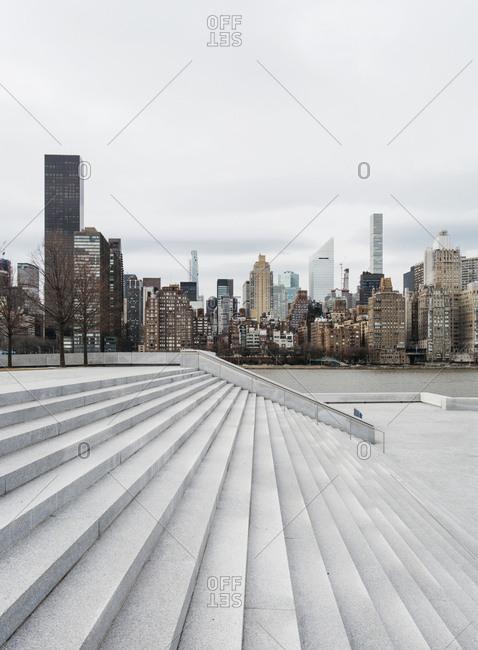 Manhattan skyline over Roosevelt Island Freedom Park
