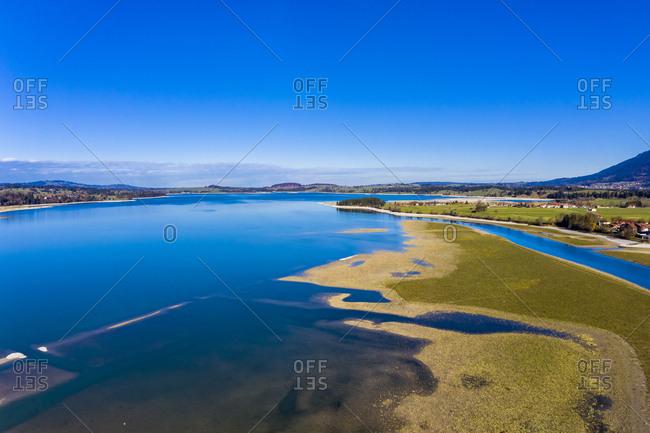 Germany- Bavaria- East Allgaeu- Fuessen- Schwangau- Forggensee- low level of water and sandbanks