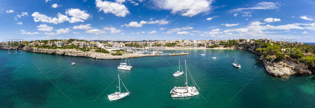 Spain- Baleares- Mallorca- Porto Cristo- Cala Manacor- coast with villas and natural harbour