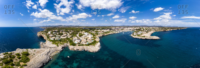 Spain- Baleares- Mallorca- Porto Cristo- Cala Manacor- coast with villas and natural harbour