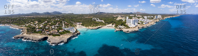 Spain- Baleares- Mallorca- Porto Colom- Aerial view of Cala Tropicana and Cala Domingo
