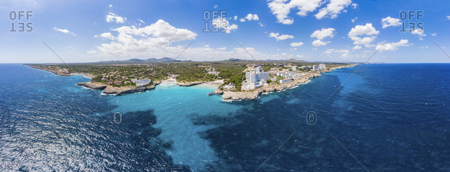 August 15, 2018: Spain- Baleares- Mallorca- Porto Colom- Aerial view of Cala Tropicana and Cala Domingo