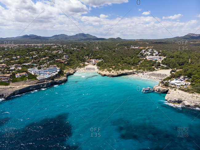 August 15, 2018: Spain- Baleares- Mallorca- Porto Colom- Aerial view of Cala Tropicana and Cala Domingo