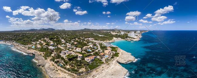 Spain- Baleares- Mallorca- Porto Colom- Aerial view of Cala Tropicana and Cala Domingo