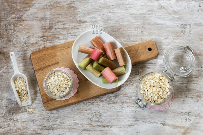 Ingredients of porridge with rhubarb