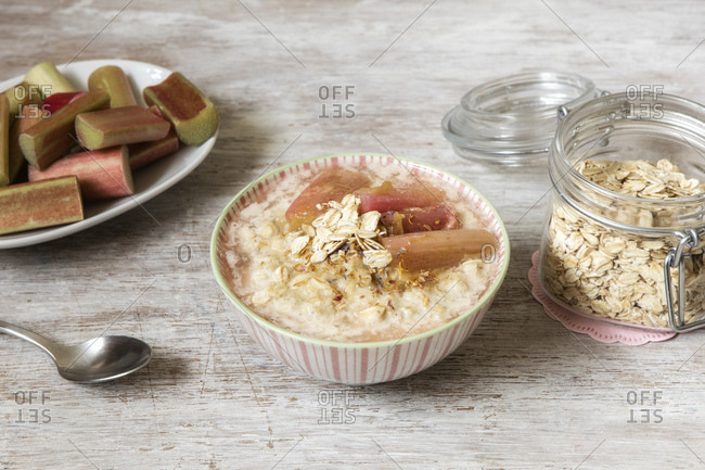 Bowl of porridge with rhubarb