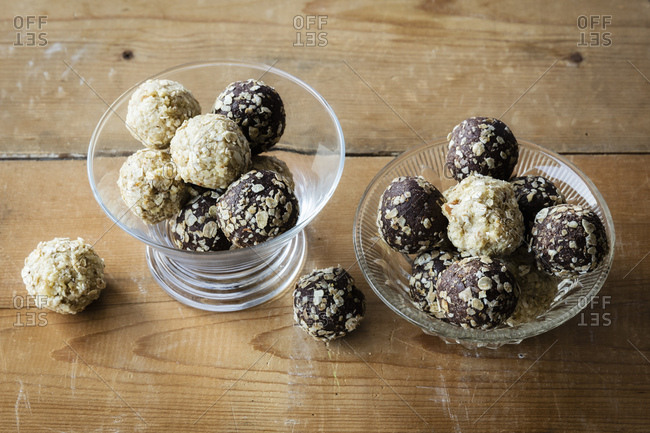 Glass bowls of Energy Balls