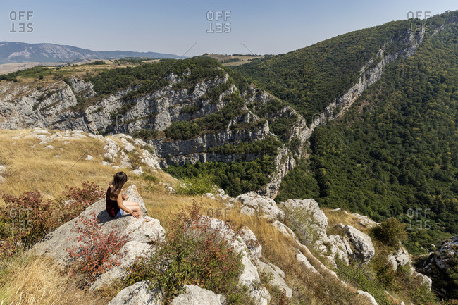 Nagorno-Karabakh- Shushi Province- woman on viewpoint