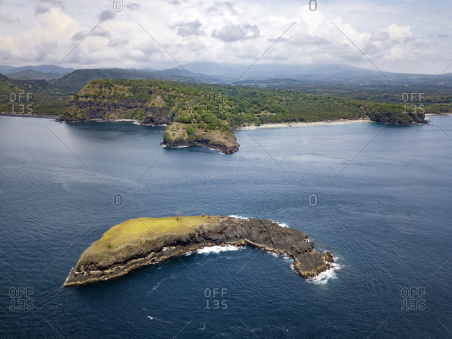 Indonesia- Bali- Karangasem- Aerial view of Pulau Paus Island and Virgin beach in the background
