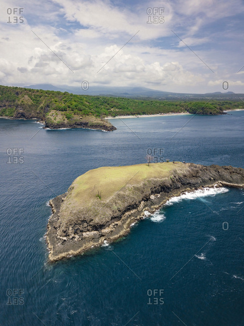 Indonesia- Bali- Karangasem- Aerial view of Pulau Paus Island and Virgin beach in the background