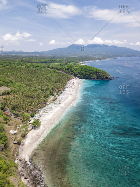 Indonesia- Bali- Karangasem- Aerial view of virgin beach