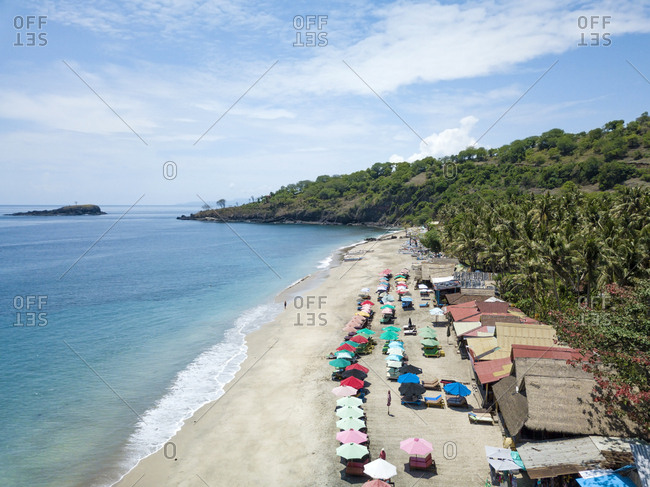 Indonesia- Bali- Karangasem- Aerial view of virgin beach