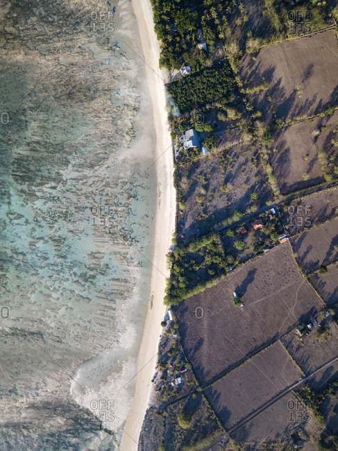 Indonesia- West Sumbawa- Aerial view of Jelengah beach- Scar reef surf beach
