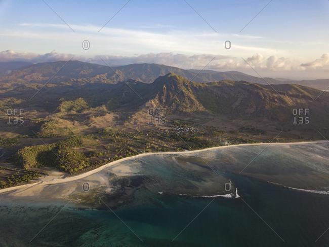 Indonesia- West Sumbawa- Aerial view of Jelengah beach- Scar reef surf beach