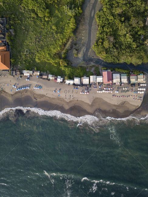 Indonesia- Bali- Canggu- Aerial view of Batu bolong beach