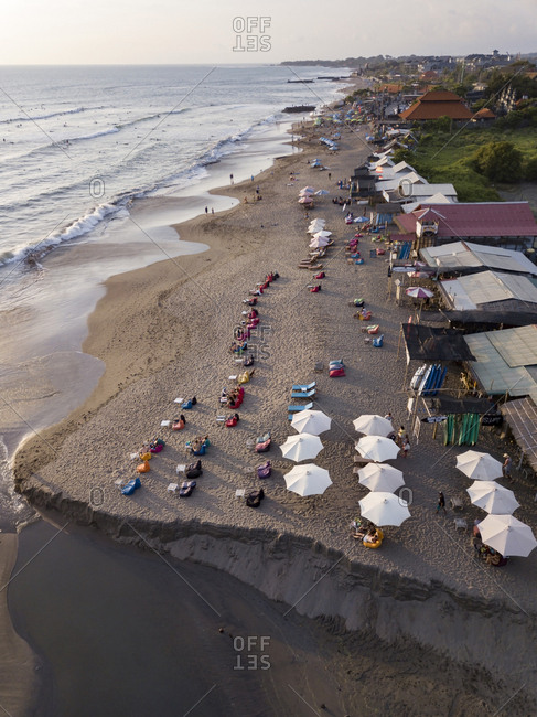 Indonesia- Bali- Canggu- Aerial view of Batu bolong beach