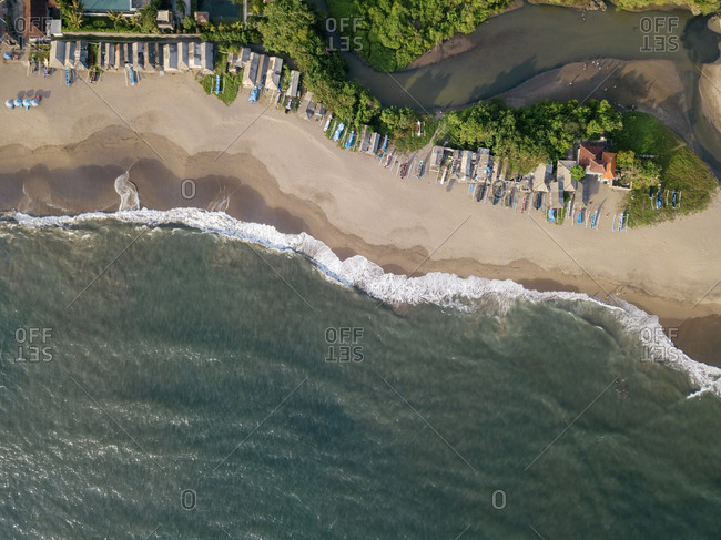 Indonesia- Bali- Aerial view of Berawa beach