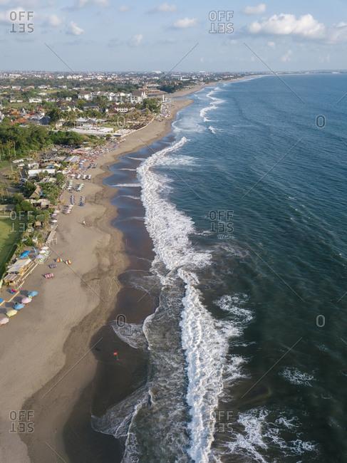 Indonesia- Bali- Aerial view of Berawa beach