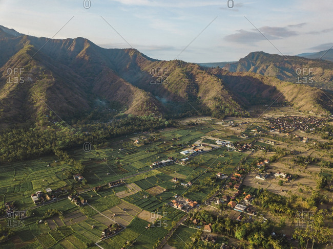 Indonesia- Bali- Amed- Aerial view of Amed