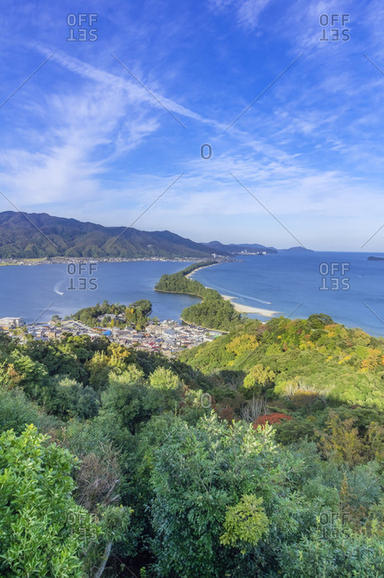 Japan- Kyoto Prefecture- view on Amanohasidate with sandbar and sea