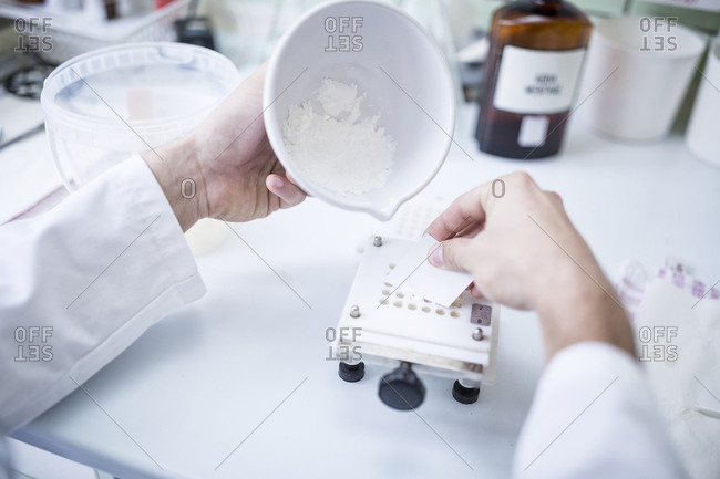 Preparation of medicine in laboratory of a pharmacy