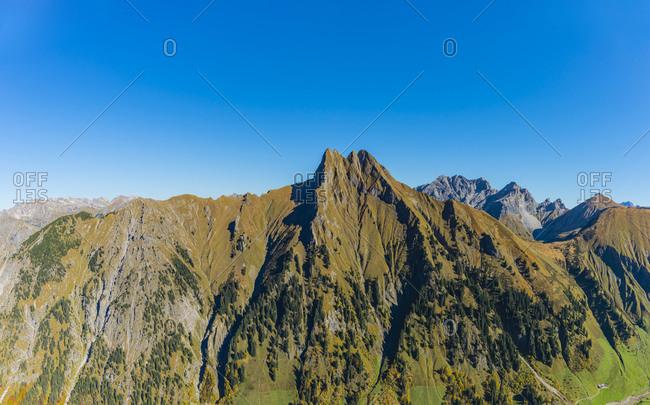 Germany- Bavaria- Allgaeu Alps- Panoramic view from Kegelkopf to Hoefats