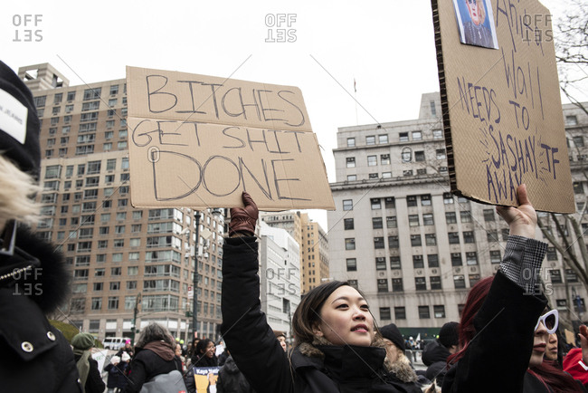 Foley Square - January 19, 2019: Activists at the Womens March in Foley Square, in New York City, NY, USA, on January 19th, 2019.