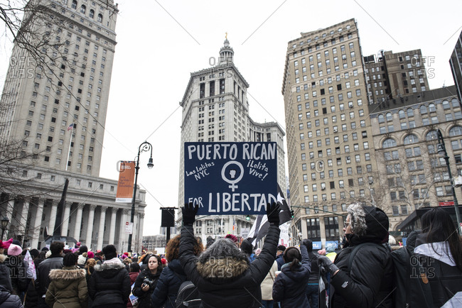 Foley Square - January 19, 2019: Puerto Rican sign at the Womens March in Foley Square, in New York City, NY, USA, on January 19th, 2019.