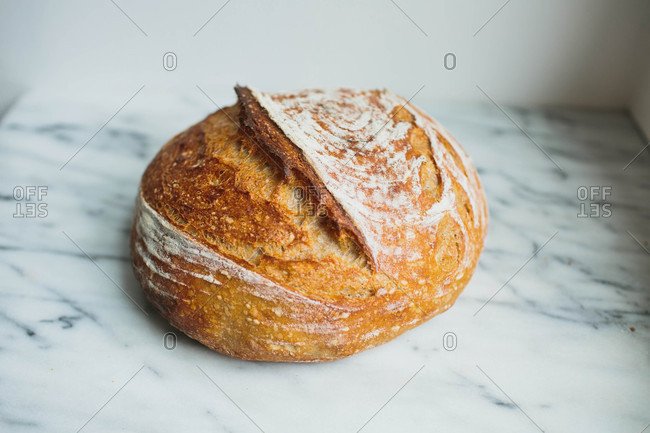 Sourdough bread on marble counter