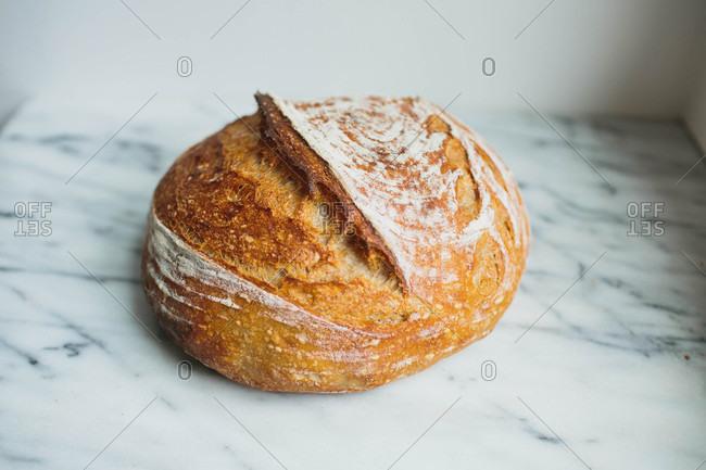 Sourdough bread on marble counter