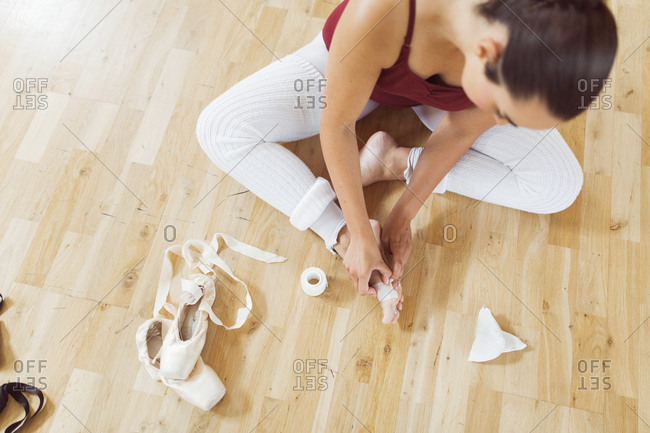 Ballerina preparing for ballet class
