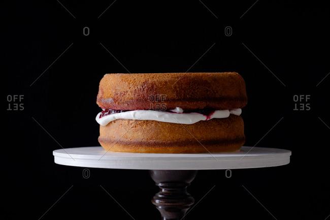 Victoria sponge cake on a cakestand
