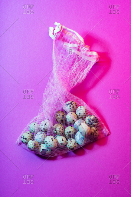 Quail eggs in eco netted bag