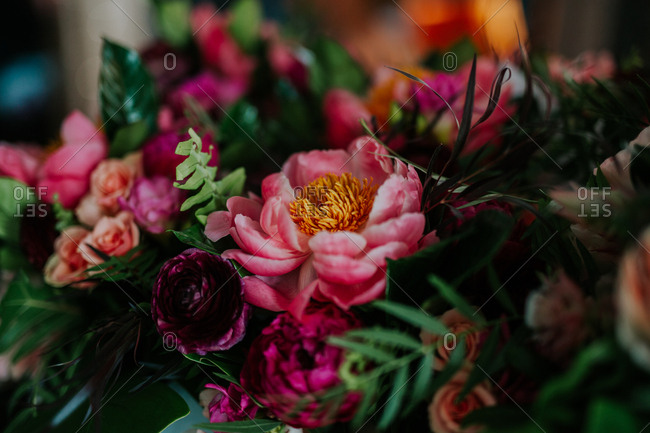 Details of a wedding bouquet