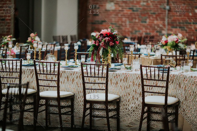 Modern table setting at a wedding