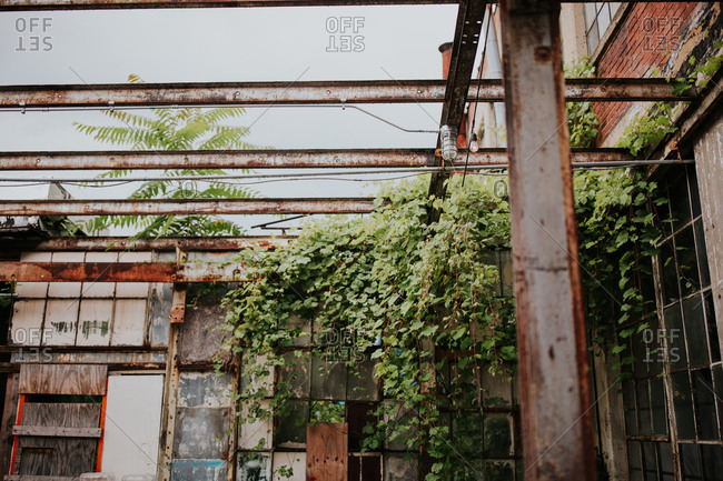 Courtyard of vintage loft in Columbus Ohio