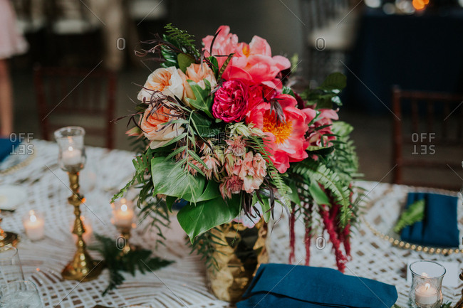 Close-up of bouquet on table setting